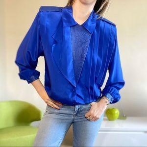 Vintage Valenti leather detail cobalt blue blouse